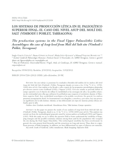 Los sistemas de producción lítica en el Paleolítico Superior Final: El caso del nivel Asup del Molí del Salt (Vimbodí i Poblet, Tarragona)