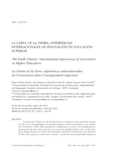 La Carta de la Tierra: experiencias internacionales de innovación en educación superior
