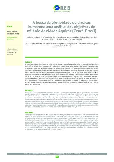 A busca da efetividade de direitos humanos: uma análise dos objetivos do milênio da cidade Aquiraz (Ceará, Brasil)