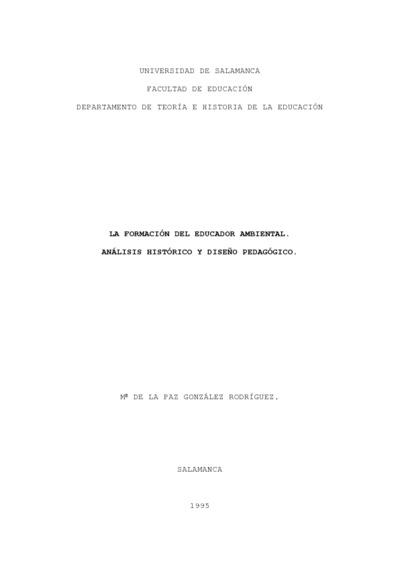 La formación del educador ambiental: análisis histórico y diseño pedagógico
