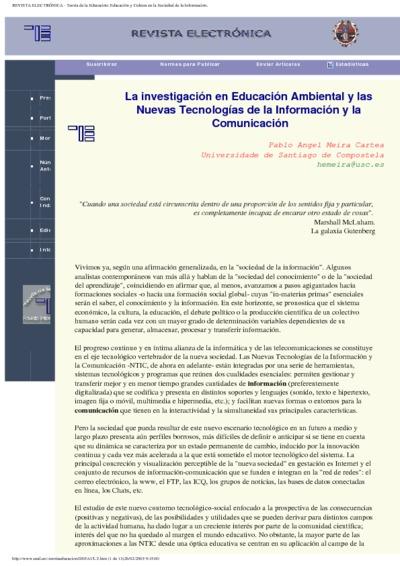 La investigación en Educación Ambiental y las Nuevas Tecnologías de la Información y la Comunicación