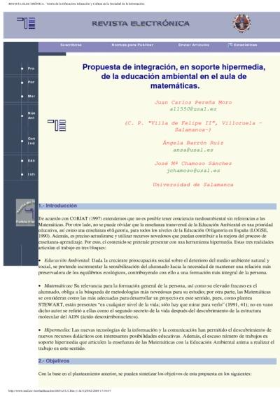 Propuesta de integración, en soporte hipermedia, de la educación ambiental en el aula de matemáticas