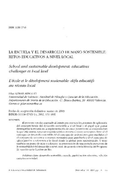 La escuela y el desarrollo humano sostenible: retos educativos a nivel local