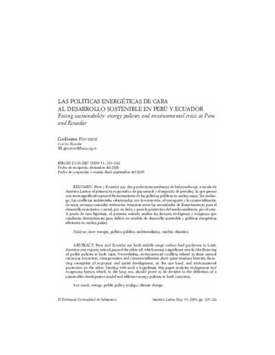 Las políticas energéticas de cara al desarrollo sostenible en Perú y Ecuador
