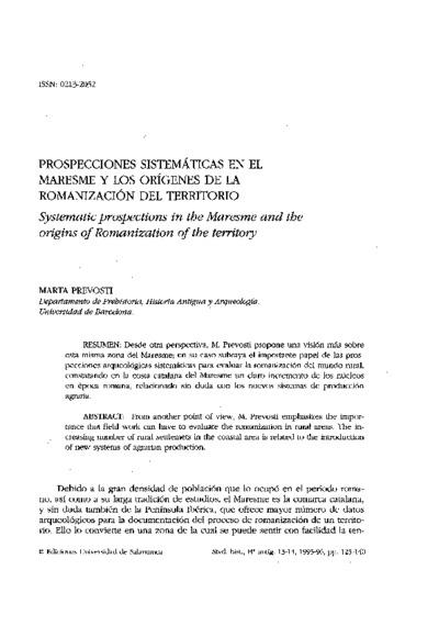 Prospecciones sistemáticas en el Maresme y los orígenes de la romanización del territorio