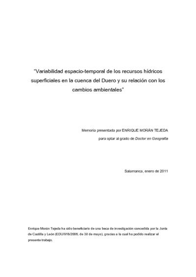 Variabilidad espacio-temporal de los recursos hídricos superficiales en la cuenca del Duero y su relación con los cambios ambientales