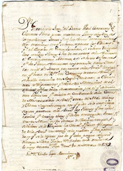 Borrador del Claustro pleno y Claustro de diputados celebrados el 11 de marzo de 1782