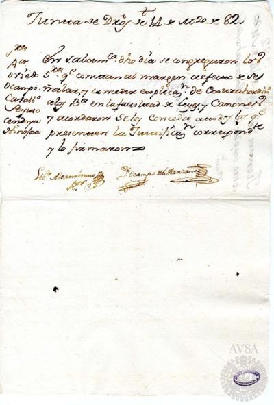 Borrador de la Junta de la Facultad de Derechos celebrada el 14 de marzo de 1782