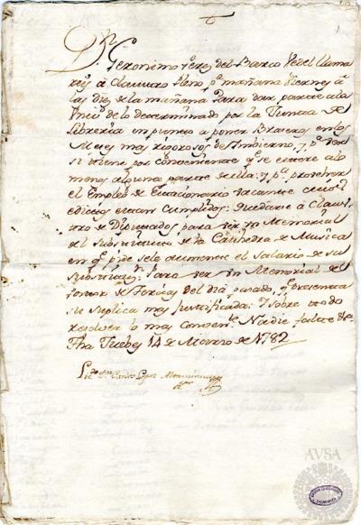 Borrador del Claustro pleno y Claustro de diputados celebrados el 15 de marzo de 1782