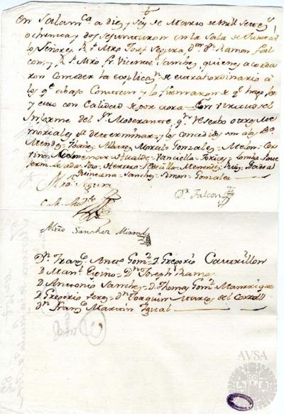 Borrador de la Junta de la Facultad de Teología celebrada el 16 de marzo de 1782