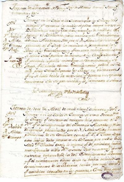Borrador de las Juntas de Librería celebradas los días 16 de marzo y 12 de abril de 1782
