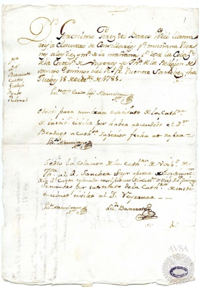 Borrador del Claustro de rector y consiliarios celebrado el 19 de octubre de 1781