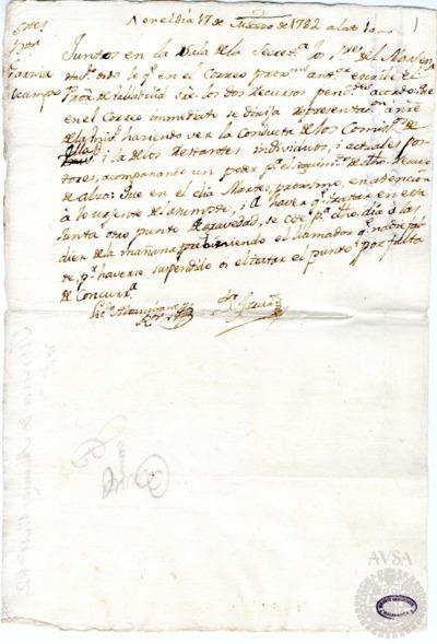 Borrador de la Junta de abastos celebrada el 17 de marzo de 1782