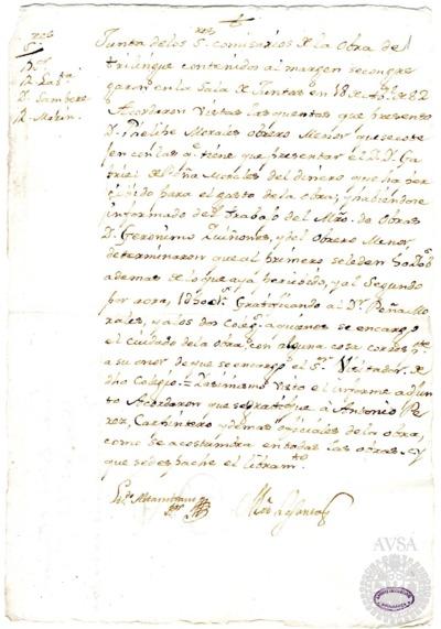 Borrador de la Junta de Colegio Trilingüe celebrada el 18 de abril de 1782