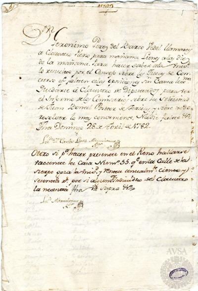 Borrador del Claustro pleno y Claustro de diputados celebrados el 29 de abril de 1782