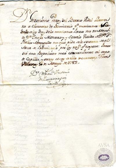 Borrador del Claustro de primicerio celebrado el 11 de mayo de 1782