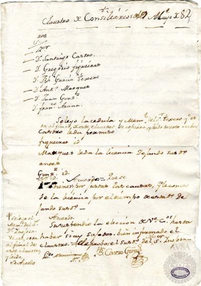 Borrador del Claustro de rector y consiliarios celebrado el 9 de mayo de 1782