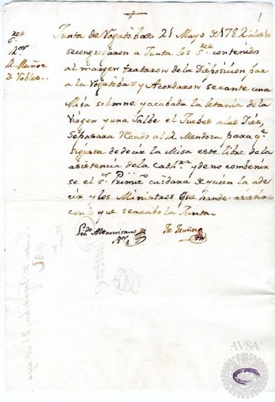 Borrador de la Junta de rogativas por el feliz alumbramiento de la princesa. celebrada el 21 de mayo de 1782