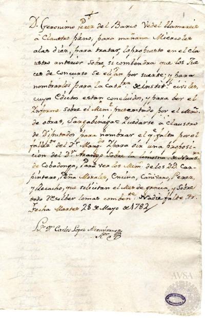 Borrador del Claustro pleno y Claustro de diputados celebrados el 29 de mayo de 1782