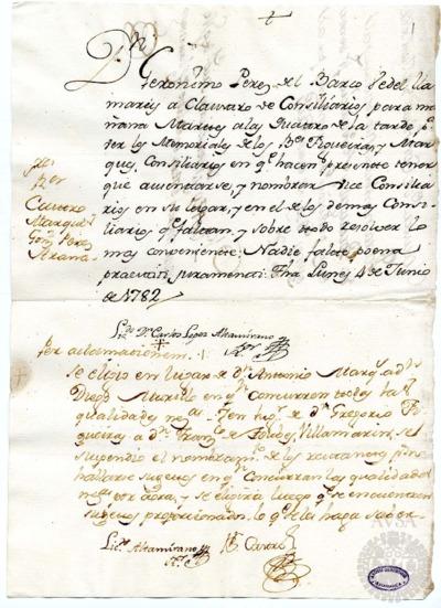 Borrador del Claustro de rector y consiliarios celebrado el 5 de junio de 1782