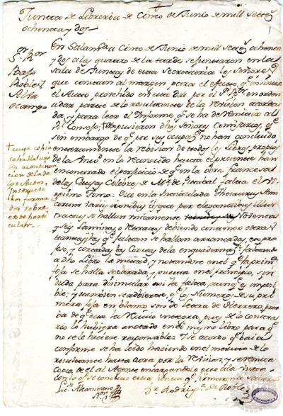 Borrador de la Junta de Librería celebrada el 5 de junio de 1782