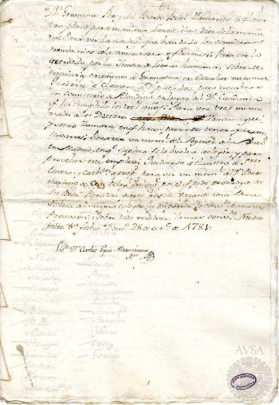 Borrador del Claustro pleno, Claustro de diputados y Claustro de cabezas y catedráticos de propiedad celebrados el 29 de octubre de 1781