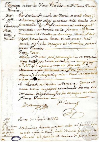 Borrador de las Juntas sobre la obra del maestro Juan Justo García, celebradas los días 8 y 20 de junio de 1782