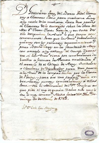 Borrador del Claustro pleno y Claustro de diputados celebrados el .1 de julio de 1782