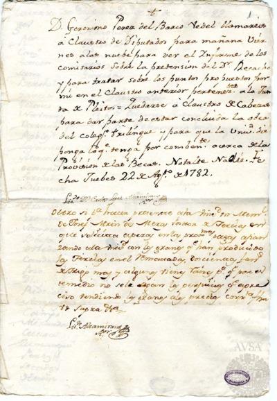 Borrador del Claustro de diputados y Claustro de cabezas y catedráticos de propiedad celebrados el 23 de agosto de 1782
