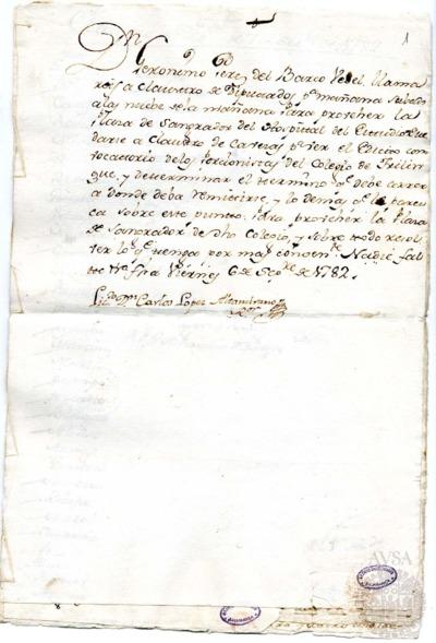 Borrador del Claustro de diputados y Claustro de cabezas y catedráticos de propiedad celebrados el 7 de septiembre de 1782
