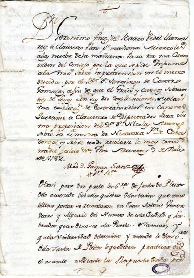 Borrador del Claustro pleno y Claustro de diputados celebrados el 10 de julio de 1782
