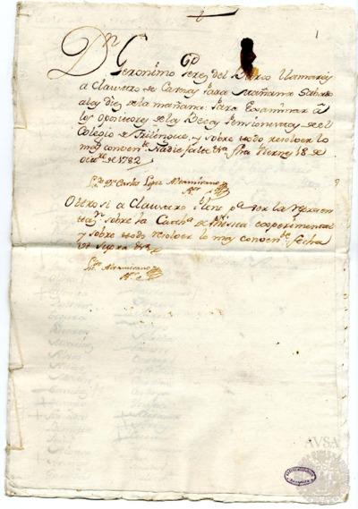 Borrador del Claustro pleno y Claustro de cabezas y catedráticos de propiedad celebrados el 19 de octubre de 1782