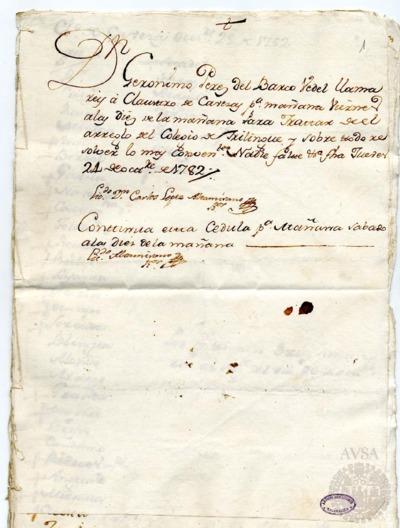 Borrador del Claustro de cabezas y catedráticos de propiedad celebrado los días 25 y 26 de octubre de 1782