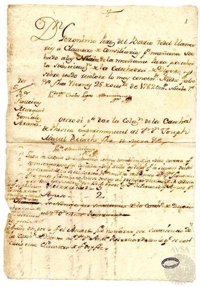 Borrador del Claustro de rector y consiliarios celebrado el 26 de octubre de 1782