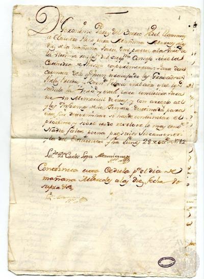 Borrador del Claustro pleno celebrado los días 29 y 30 de octubre de 1782