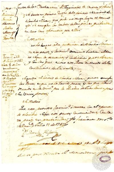 Borrador de la Junta de la Facultad de Derechos celebrada el 12 de julio de 1782
