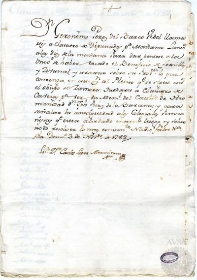 Borrador del Claustro de diputados y del Claustro de cabezas y catedráticos de propiedad celebrados el 4 de noviembre de 1782