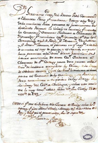 Borrador del Claustro pleno, Claustro de diputados y Claustro de cábezas y catedráticos de propiedad celebrados el 22 de noviembre de 1782