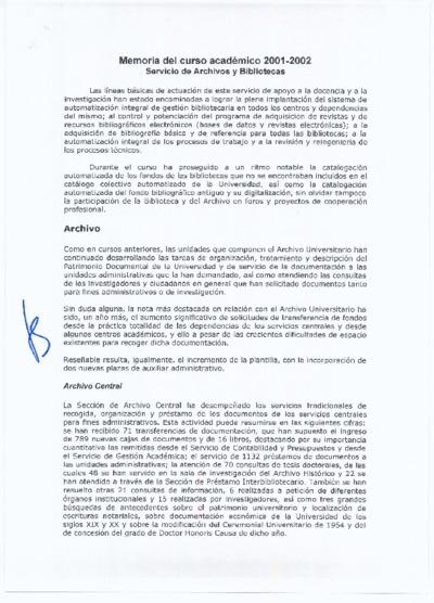 Memoria de las bibliotecas de la USAL, 2001-2002