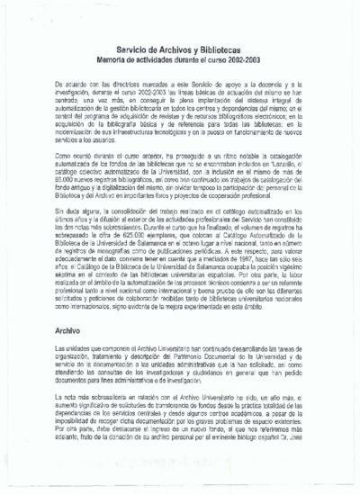 Memoria de las bibliotecas de la USAL, 2002-2003