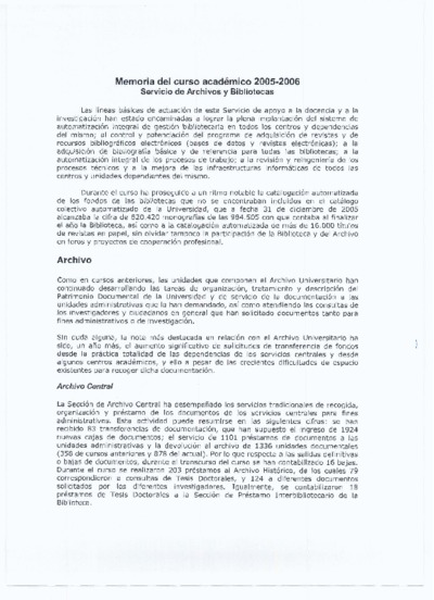 Memoria de las bibliotecas de la USAL, 2005-2006