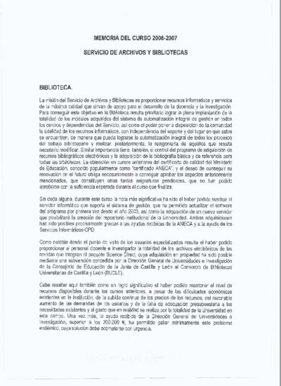 Memoria de las bibliotecas de la USAL, 2006-2007