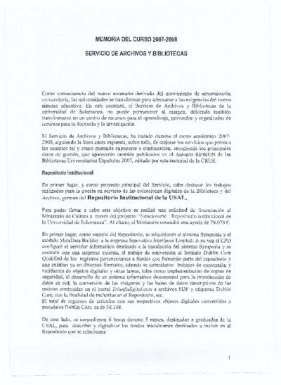 Memoria de las bibliotecas de la USAL, 2007-2008