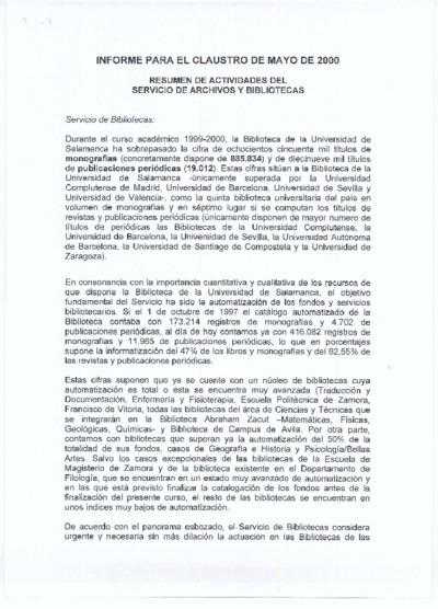 Informe para el claustro del Servicio de Archivos y Bibliotecas, mayo de 2000