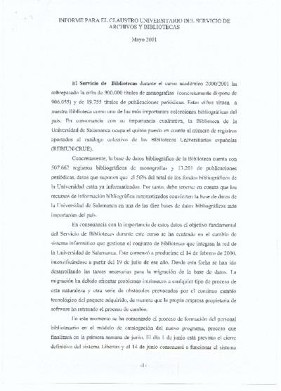 Informe para el claustro del Servicio de Archivos y Bibliotecas, mayo de 2001