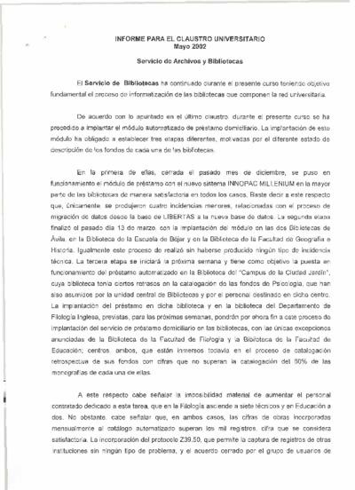 Informe para el claustro del Servicio de Archivos y Bibliotecas, mayo de 2002