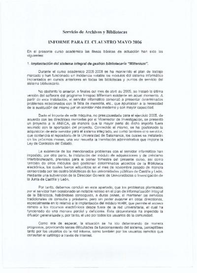 Informe para el claustro del Servicio de Archivos y Bibliotecas, mayo de 2006