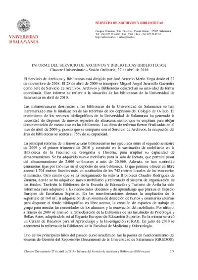 Informe para el claustro del Servicio de Archivos y Bibliotecas, abril de 2010