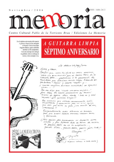 Cuaderno Memoria, nov. 2006. Séptimo Aniversario A guitarra limpia