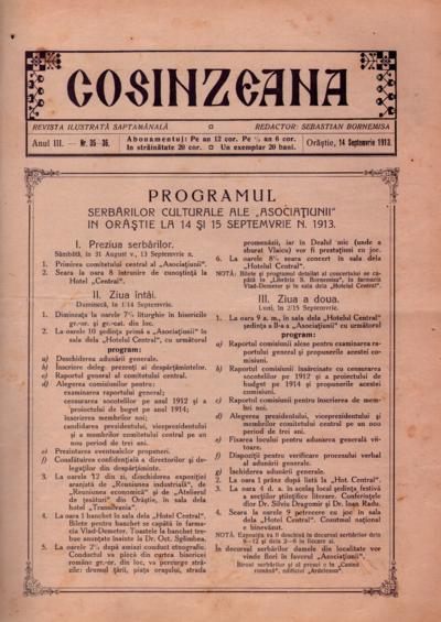 Cosînzeana : Revistă ilustrată săptămânală, Anul III, Nr. 35-36 (1913)
